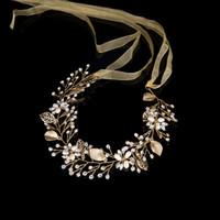 Wholesale Sequin Diamond Hair - Bridal accessories International station hot pin headband gold diamond bride wreath bride model accessories factory direct sales