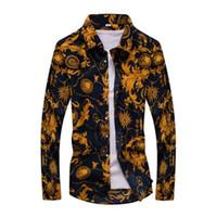 рубашка с воротником polka dot оптовых-Новая весна мужчины повседневная рубашки мода с длинным рукавом бренд печатных кнопка вверх формальный бизнес горошек цветочные мужчины Платье рубашка M-7XL