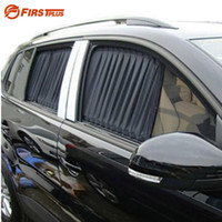 Wholesale Car Side Curtains - 2 x Update 70L Aluminum Alloy Elastic Auto Car Side Window Sunshade Curtain Sun Visor Blinds- Black Beige Gray