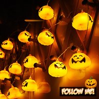 ingrosso luci di zucca per halloween-Spina a LED 2.7m 16 led 3D Pumpkin LED Fairy String Lights Halloween Christmas Holiday Garden Decoration Lights Lanterns Lights