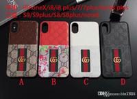 iphone6 hüllen leder großhandel-Mode Case für iPhoneX 7 8 plus Geprägtes Leder Silikon Case für iPhone6 6S plus mit Card Pocket Case für Samsung S8 S9 Plus.