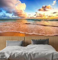 обои для рабочего стола оптовых-пользовательские mural 3d обои волны пляж пейзаж красивые украшения неба живопись 3D настенные росписи обои для гостиной
