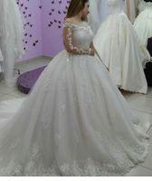 Wholesale vintage black taffeta skirt - 2018 New Dubai Arabic Ball Gown Wedding Dress Off Shoulder Long Sleeves Lace Applique Bridal Dress With Court Train Vestidos De Noiva