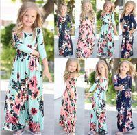 ingrosso vestito boho dal bambino-Bambini Baby Girl Fashion Boho Long Maxi Dress Abbigliamento manica lunga Floral Dress Baby Bohemian Summer Floral Princess dress to628