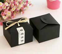 cajas de cupcakes kraft al por mayor-Caja de pastel de papel Kraft, regalo de Macaron Galleta de panadería Favor Cupcake Chocolate Packaging Box Boda de Navidad