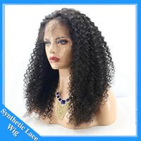 perucas de cores para mulheres venda por atacado-Peruca Dianteira Do Laço sintético Afro Kinky Curly Perucas para o Americano Africano Das Mulheres Perucas Sintéticas Peruca Resistente Ao Calor Cor Natural Preto
