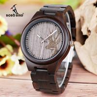 Wholesale custom logo watches online - BOBO BIRD Factory Time Men s Custom Logo Natural Handcrafted Carved Dark Sandalwood Wrist Watch Montre Homme