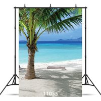 Wholesale sea photography backdrops - Palm tree sea side 5X7ft fotografica backdrops vinyl cloth photography backgrounds wedding children baby backdrop for photo studio 11055