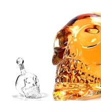 Wholesale crystal skull head whiskey glass - Creative Crystal Skull Head Whiskey Vodka Wine Decanter Bottle Whisky Glass Beer Spirits Cup Water Glass Bar Home