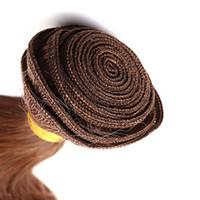 vücut dalgası örgüsü 6a toptan satış-Yüksek Kaliteli% 100% İnsan Saç Dokuma 10-30 Inç Çilek Sarışın Renk Bakire Saç Uzantıları 6A Vücut Dalga Saç Dokuma 100g / 1 adet