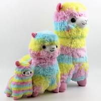Wholesale japanese cartoon plush toys - Rainbow Alpaca Alpacasso Plush Toys Lovely Japanese Stuffed Animals Grass Mud Horse Doll Cartoon Soft Gifts for Kids 40fq YY