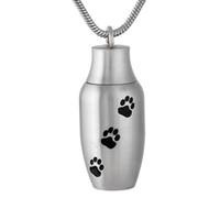urnes de chien pour les cendres achat en gros de-DJX9787 Ouvert 30mm * 13mm Pet Paw Imprimer Mini Memorial Urn Collier Médaillon Chien / Chat Crémation Keepsake Bijoux pour Cendres