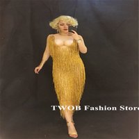 Wholesale stag costumes online - S87 Ballroom dance costumes gold Tassels Crystals stone dress female skirt nightclub Stag Party wears performance clothe dj show outfit club