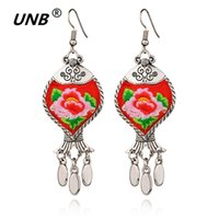 Wholesale embroidery earrings - New 4 Colors Star Handmade Vintage Chinese Wind Embroidery Fabric Dangle Earrings Original Ethnic jewelry Stone Fish Earrings