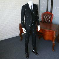 блейзеры три штуки для мужчин оптовых-Против морщин костюм блейзер Slim Fit / человек чисто черный вышивка костюм куртка / мужчины свадебные платья три части 365wt19