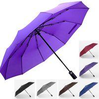 Wholesale windproof umbrella golf - 6 Colors Large Automatic Windproof Rain Umbrella 10 Ribs Compact Folding Travel Golf Umbrella With Coating Business Umbrellas DHL WX9-694
