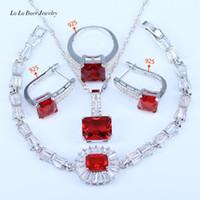 pulseras rojas de jade blanco al por mayor-LB Dubai Style Red Garnet White Zircon Princess Jewelry Set 925 Pendientes Pulsera Pendiente Collar de Plata Esterlina de Las Mujeres