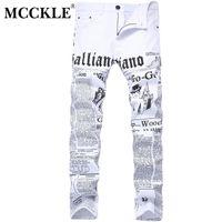 erkekler rahat beyaz kot pantolon toptan satış-Mcckle 2017 sonbahar erkekler kot pantolon beyaz baskı gazete rahat pantolon mens erkekler için boyalı skinny jeans boyutu 28-42