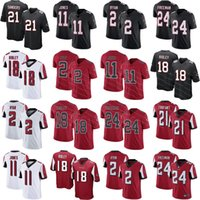 negro camiseta de julio jones al por mayor-Hombres Atlanta Falcons Jerseys Ridley 11 Julio Jones 2 Matt Ryan 24 Devonta Freeman 21 Deion Sanders Inicio Rojo Negro cosido Jersey ventas
