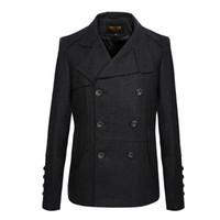 pecho caliente y grueso al por mayor-Nuevos abrigos de hombre de alta calidad de doble botonadura rompevientos simples mezclas de lana caliente gruesos abrigos de otoño e invierno
