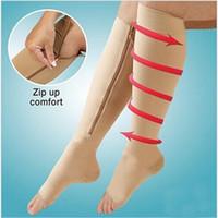 ingrosso zip supporto-Moda 1pair Zip calze a compressione Zipper Leg Support Calze al ginocchio Open Toe sottile anti-fatica Unisex calze a compressione LE95