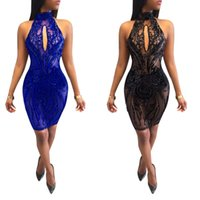 Wholesale Women Black Mesh Backless Dresses - Women Sexy halter backless bodycon Sequins splice Party Clubwear Cocktail evening mesh mini Dress