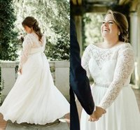 Wholesale modest organza beach wedding dresses resale online - Modest Plus Size A Line Wedding Dresses With Beads Sash Sheer Long Sleeves Wedding Bridal Dresses Floor Length Zipper Up Wedding Gowns