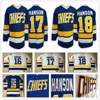 Wholesale full shoot - Hanson Brothers Charlestown Slap Shot Hockey Jersey #16 Jack Hanson 17 Steve 18 Jeff Hanson SlapShot Stitched Blue White Jerseys