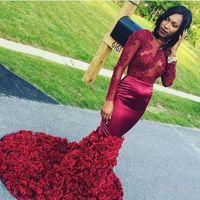 bej gül elbisesi toptan satış-Yeni Seksi Uzun Kollu Kırmızı Mermaid Abiye Illusion Korse Aplikler Gül Çiçekler Backless Gelinlik Modelleri Siyah Kızlar Arapça Elbiseler