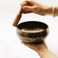 yoga şarkı kutusu toptan satış-yüksek kalite ile Budizm Budist Meditasyon Şifa Gevşeme Desen Random için Bowl Striker Singing Nefis Tibet Bell Metal