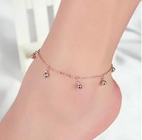 Wholesale bracelets foot dance online - Bell Tassel Chain Gold Silver Anklet Chain Yoga Dancing Foot Bracelets Gifts For Her Ankle Bracelets