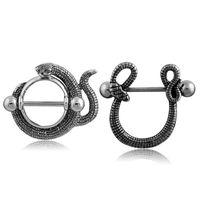 barra de labios al por mayor-Body Piercing Jewelry Tipo de serpiente Acero inoxidable CZ Moon Bar Barbell Pezón Anillo Piercing Bar Lips