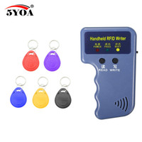 Wholesale id writer - Handheld 125KHz EM4100 RFID Copier Writer Duplicator Programmer Reader + 5 Pcs EM4305 T5577 Rewritable ID Keyfobs Tags Card