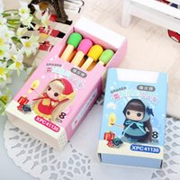Wholesale 8 pack Cute Kawaii Matches Eraser Lovely Colored Eraser for Kids Students Kids Creative Item Gift