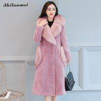 куртки прохладно воротник оптовых- Fur Collar High Quality Fur Women Coat 2018 Winter Women Black Slim Cool Lady Jackets Sweet Femme Outwear Coat Plus Size 4xl