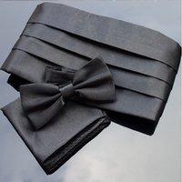 large ceintures noires pour homme achat en gros de-Tenues de smoking formelles Noeud Papillon Sash Large Ceintures de cérémonie pour Ikepeibao Black Cummerbund Ensembles Pocket Square Bowties Ceinture de cérémonie