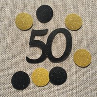 Happy 50th 16th 90th Age Birthday Anniversary Party Decoration Black 40 Gold Circles Table Confetti
