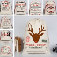 Wholesale food christmas gift - Christmas Gift Bags Large Drawstring Heavy Canvas Bag Santa Sack Organic Bag With Reindeers Santa Claus Sack Bags For Kids 50*70cm HH7-1270