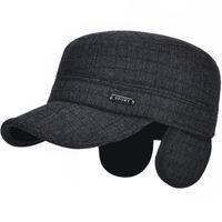 ea18e64c46f HT1880 Men Snapback Cap Winter Baseball Hats for Men Warm Thick Baseball  Caps Flat Top Army Caps Male Dad Hats with Ear Flap
