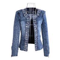 más el tamaño de chaquetas de jean azul al por mayor-Nuevos Diamantes Paillette Abrigos de mujer Blaser Water-Wash Chaquetas de mezclilla para mujeres Casual Ladies Jeans Cardigan Azul Plus Size