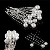 ingrosso barrette bianca per i capelli-20PCS Fashion Wedding da sposa Prom White Pearl Hair Pins Clip Barrette Forcine Accessori per capelli all'ingrosso