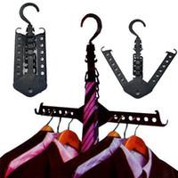 colisões de plástico venda por atacado-Nova marca de cores sólidas de plástico roupas mágicas multi cabide de poupança de espaço dobrável gancho guarda-roupa rack de organizador