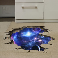Wholesale wholesale vinyl flooring - Wholesale 1 PCS 60*90cm 3D DIY Universe Galaxy Vinyl Wall Stickers Floor Ceiling Decoration Free Shipping