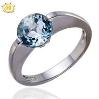mavi elmas gerçek toptan satış-Hutang Marka Alyans Kadınlar 925 Ayar Gümüş Takı Gerçek Sky Blue Topaz Elmas Tektaş Yüzük Aşk Hediye Bijoux Femme