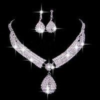 Wholesale piece jewelry sets resale online - Vintage Two Pieces Jewelry Sets Luxury Drop Earrings Necklaces Bridal Necklace Hot Sale Cheap Wedding Bridal Accessories