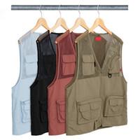 ingrosso gilet di boxe-18ss Mesh Cargo Vest BOX LOGO Gilet di Alta Qualità Moda Capispalla Uomo Donna Coppia Tooling Vest HFLSJK149