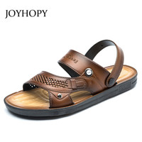 Wholesale mens slippers wholesale - Mens Sandals 2018 Summer Outdoor Beach Slides Men PU Leather Slippers Shoes Fashion Breathable Casual Male Footwear AMS0018