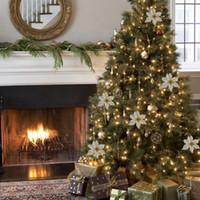 ingrosso ornamenti di natale di progettazione-Nuovo design 50 pezzi ornamenti albero di Natale fiore artificiale 15 cm decorazioni natalizie per la decorazione domestica