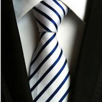 gravata listrada branca amarela venda por atacado-Moda preto branco gravata para homens gravata listrado roxo gravata amarela Wedding Laço vermelho para homens terno de negócio formal