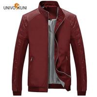 2bff6e1ebb9 UNIVOS куни 2017 весна новая мода молодежная куртка мужчины тонкий раздел  корейский тонкий искусственная кожа повседневная мужская куртка большой  размер ...